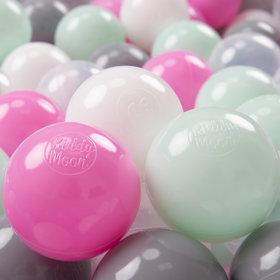 KiddyMoon Soft Plastic Play Balls 7cm/2.75in Multi-colour Certified, Transparent/Grey/White/Pink/Mint