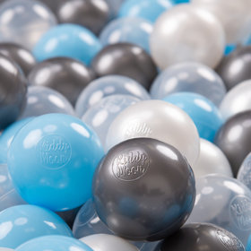 KiddyMoon Soft Plastic Play Balls 7cm/ 2.75in Multi-colour Certified, Transparent/ Silver/ Pearl/ Babyblue