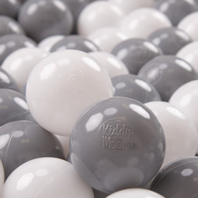 KiddyMoon Soft Plastic Play Balls ∅ 7cm/2.75in Multi-colour Certified, White/Grey