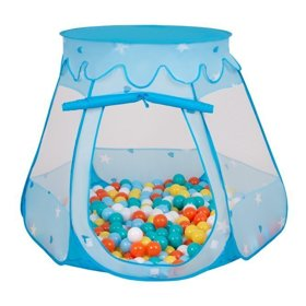 Play Tent Castle House Pop Up Ballpit Shell Plastic Balls For Kids, Blue:White-Yellow-Orange-Babyblue-Turquoise