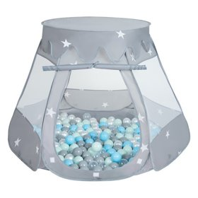 Play Tent Castle House Pop Up Ballpit Shell Plastic Balls For Kids, Grey:Pearl-Grey-Transparent-Babyblue-Mint