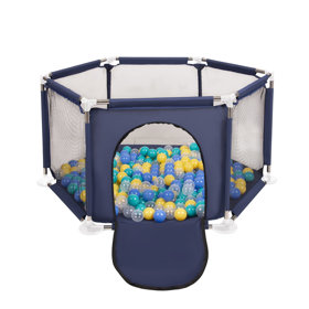 hexagon 6 side play pen with plastic balls, Blue: Turquoise/ Blue/ Yellow/ Transparent