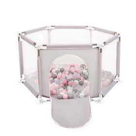 hexagon 6 side play pen with plastic balls, Grey: Pearl/ Grey/ Transparent/ Powder Pink